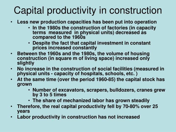 Capital productivity in construction