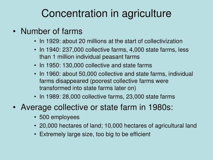 Concentration in agriculture
