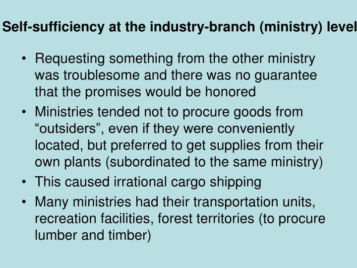 Self-sufficiency at the industry-branch (ministry) level