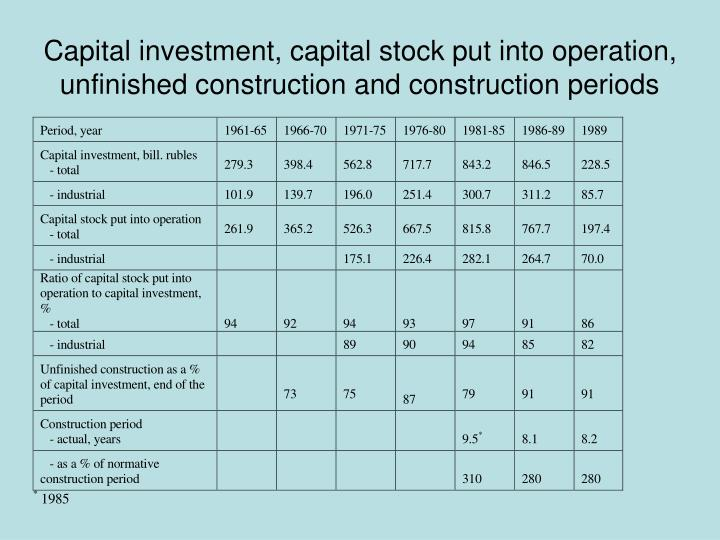 Capital investment, capital stock put into operation, unfinished construction and construction periods