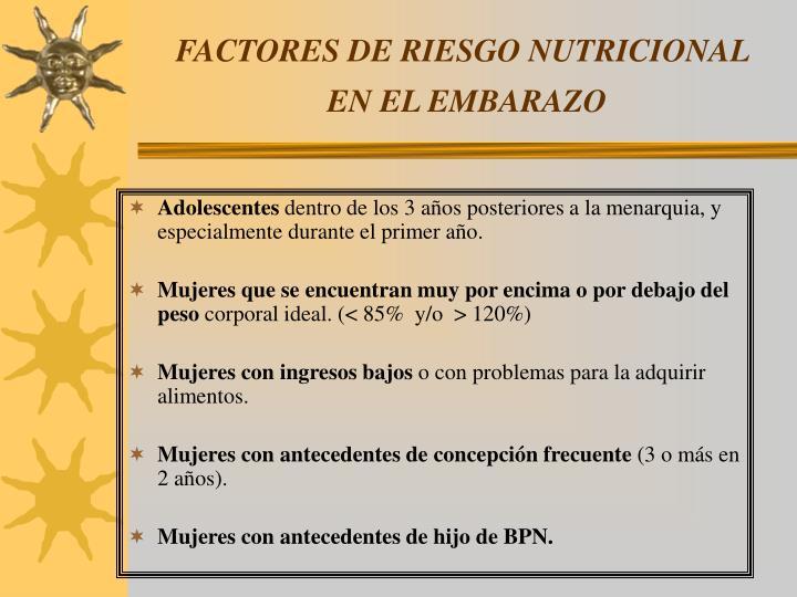 FACTORES DE RIESGO NUTRICIONAL