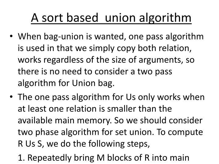 A sort based  union algorithm
