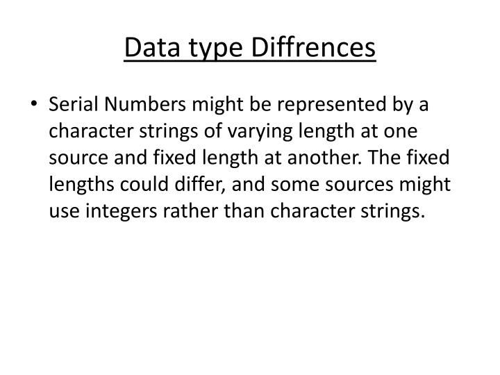 Data type Diffrences