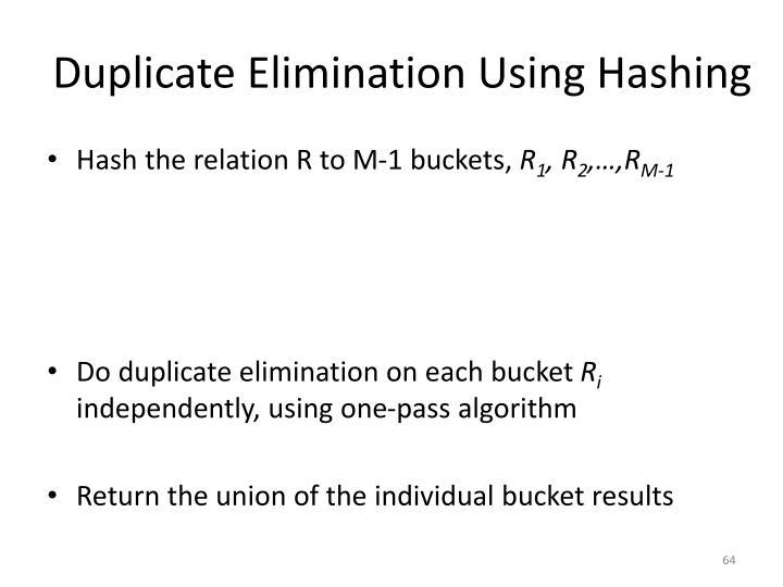 Duplicate Elimination Using Hashing