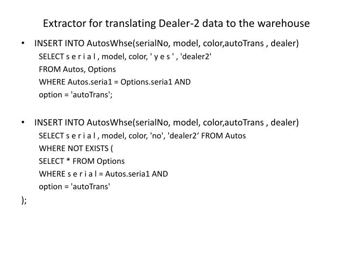 Extractor for translating Dealer-2 data to the warehouse