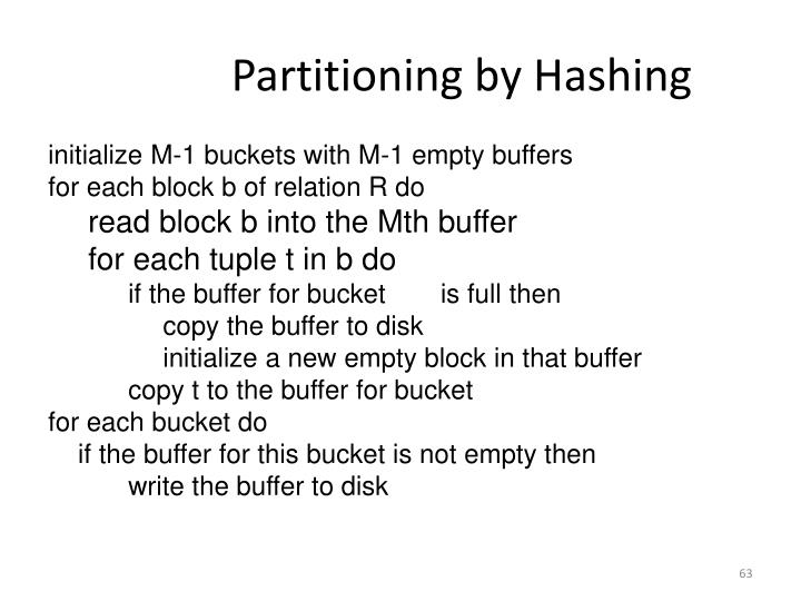 Partitioning by Hashing