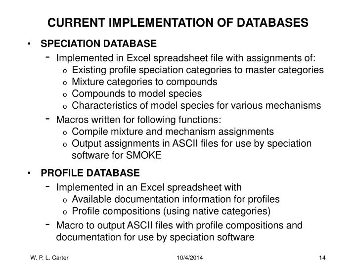 CURRENT IMPLEMENTATION OF DATABASES