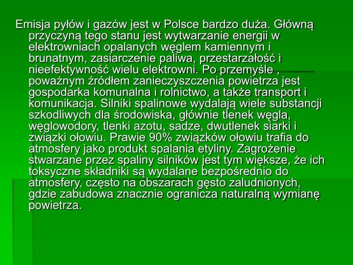 Emisja pyłów i gazów jest w Polsce bardzo duża. Główną przyczyną tego stanu jest wytwarzanie energii w elektrowniach opalanych węglem kamiennym i brunatnym, zasiarczenie paliwa, przestarzałość i nieefektywność wielu elektrowni. Po przemyśle , poważnym źródłem zanieczyszczenia powietrza jest gospodarka komunalna i rolnictwo, a także transport i komunikacja. Silniki spalinowe wydalają wiele substancji szkodliwych dla środowiska, głównie tlenek węgla, węglowodory, tlenki azotu, sadze, dwutlenek siarki i związki ołowiu. Prawie 90% związków ołowiu trafia do atmosfery jako produkt spalania etyliny. Zagrożenie stwarzane przez spaliny silników jest tym większe, że ich toksyczne składniki są wydalane bezpośrednio do atmosfery, często na obszarach gęsto zaludnionych, gdzie zabudowa znacznie ogranicza naturalną wymianę powietrza.