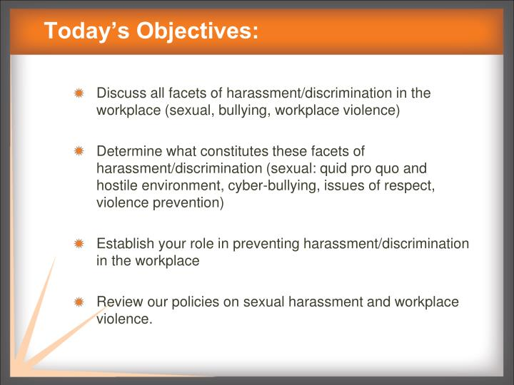 PPT Harassment Bullying and Workplace Violence Prevention