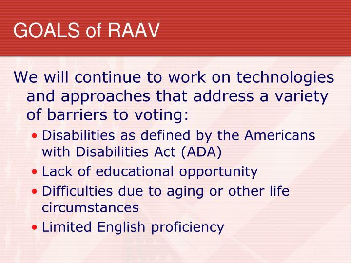 Goals of raav