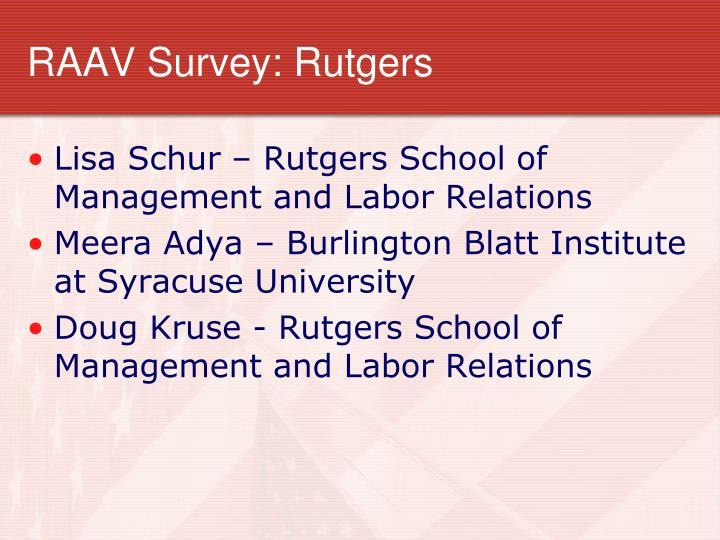 RAAV Survey: Rutgers