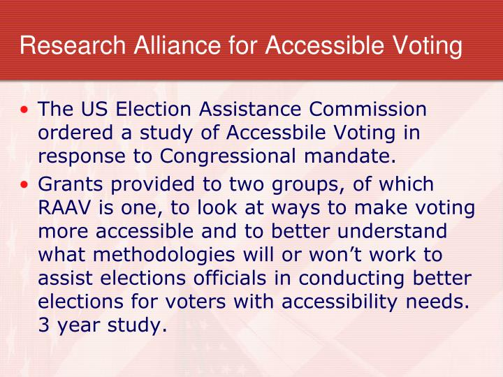 Research alliance for accessible voting