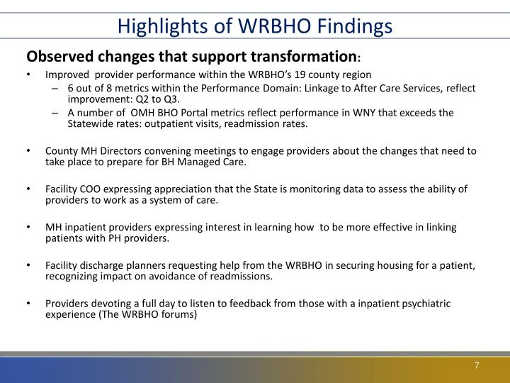 Highlights of WRBHO Findings
