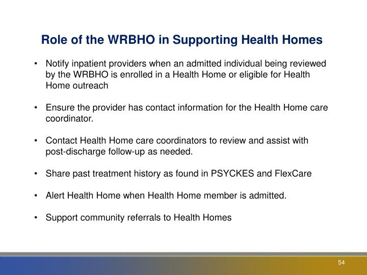 Role of the WRBHO in Supporting Health Homes