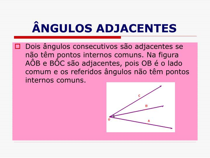 ÂNGULOS ADJACENTES