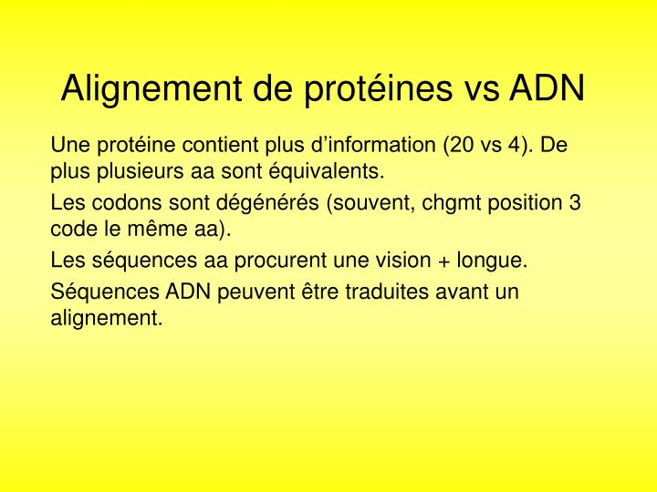 Alignement de protéines vs ADN