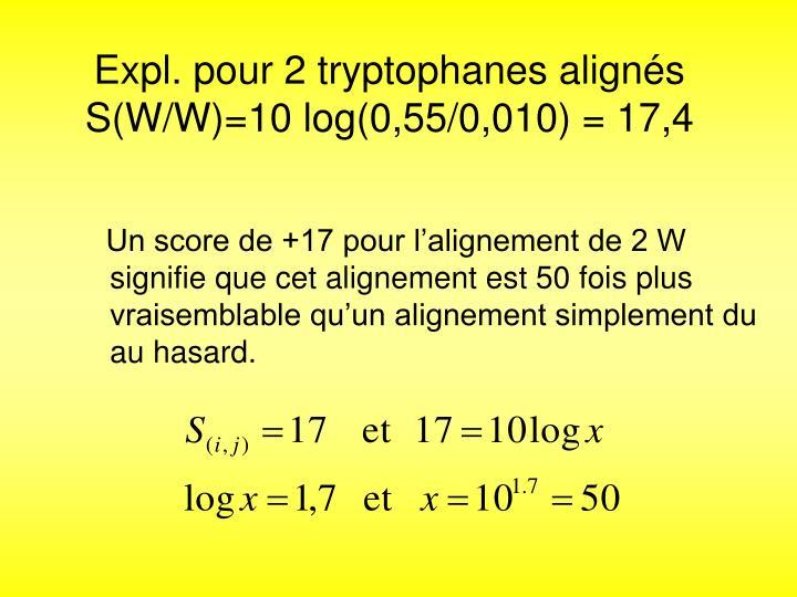 Expl. pour 2 tryptophanes alignés S(W/W)=10 log(0,55/0,010) = 17,4