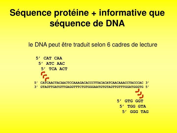 Séquence protéine + informative que séquence de DNA