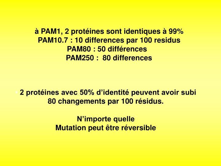 à PAM1, 2 protéines sont identiques à 99%