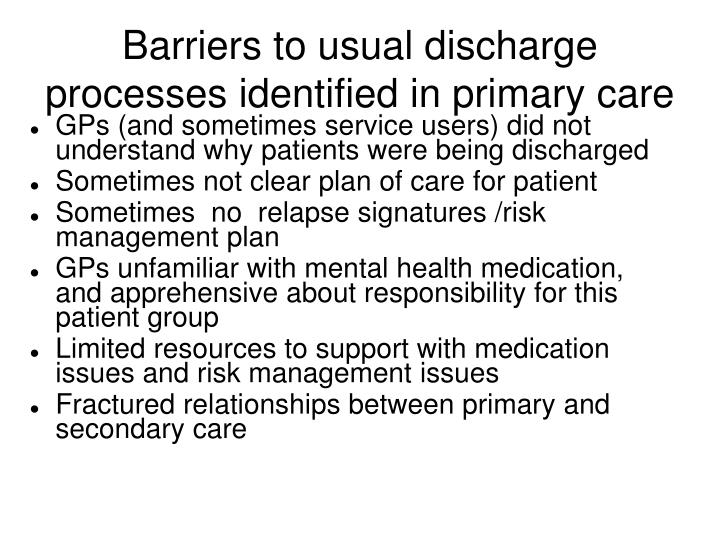 Barriers to usual discharge processes identified in primary care