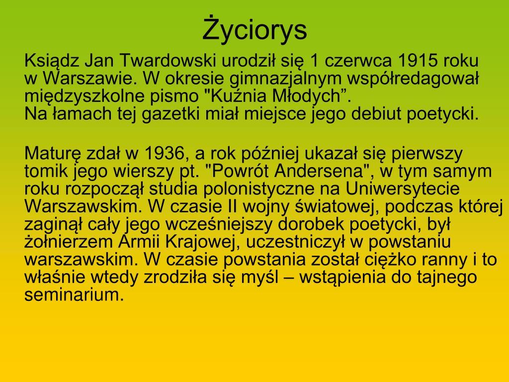Ppt Patron Naszej Szkoły Ksiądz Jan Twardowski 1915