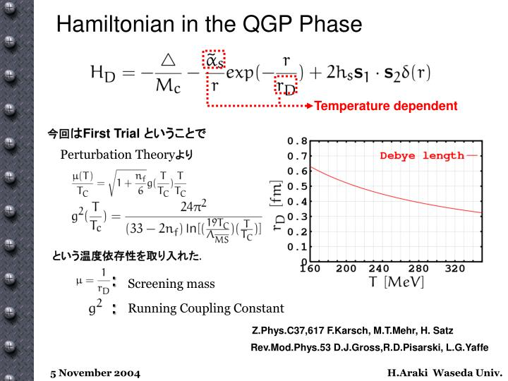 Hamiltonian in the QGP Phase