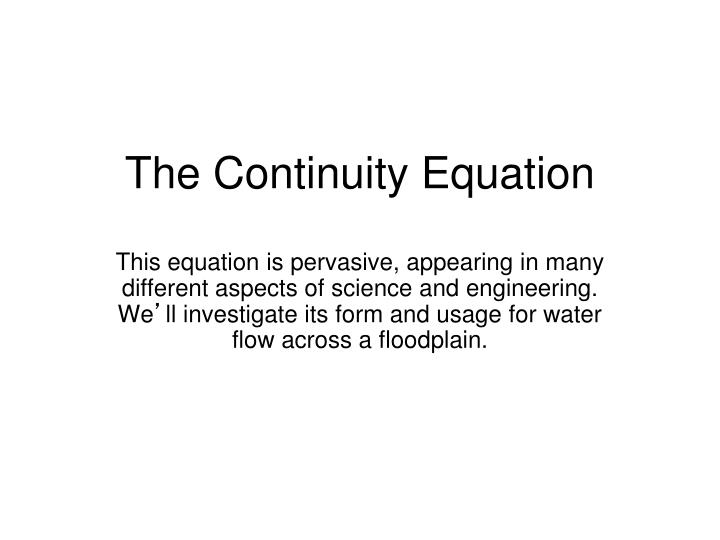 the continuity equation n.