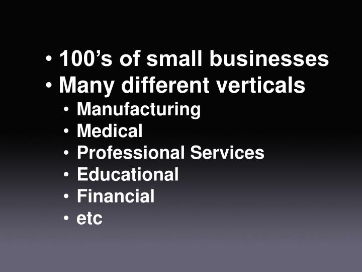 100's of small businesses