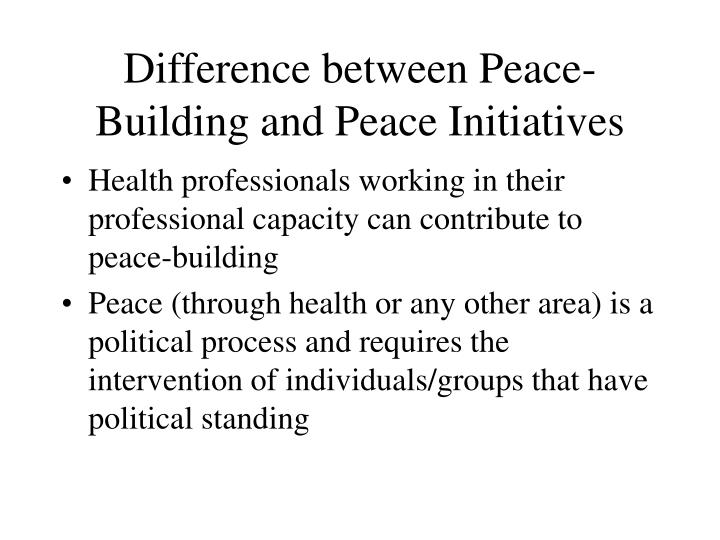 Difference between peace building and peace initiatives