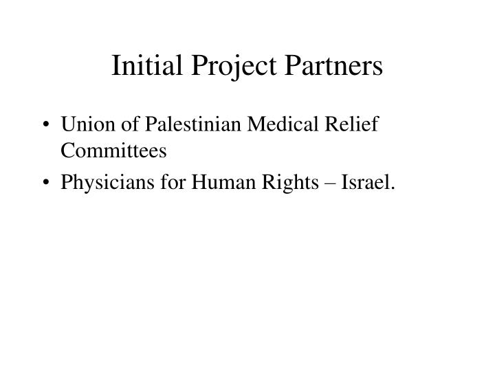 Initial Project Partners
