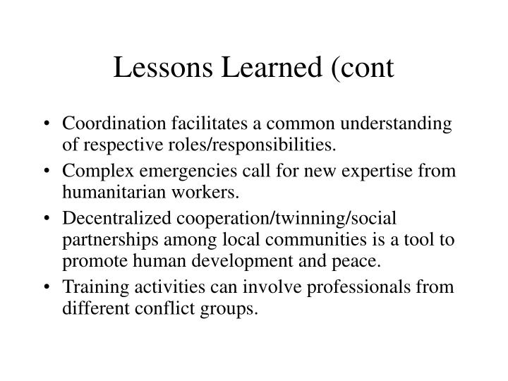 Lessons Learned (cont
