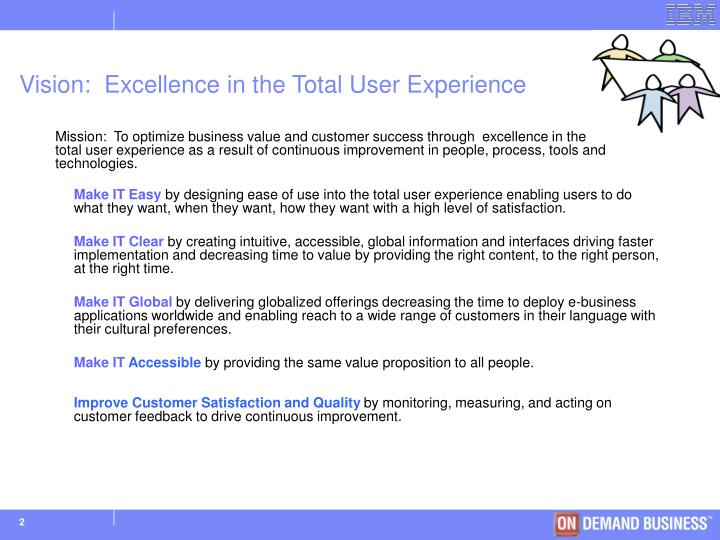 Vision excellence in the total user experience