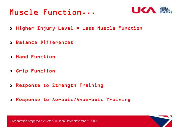 Muscle Function...