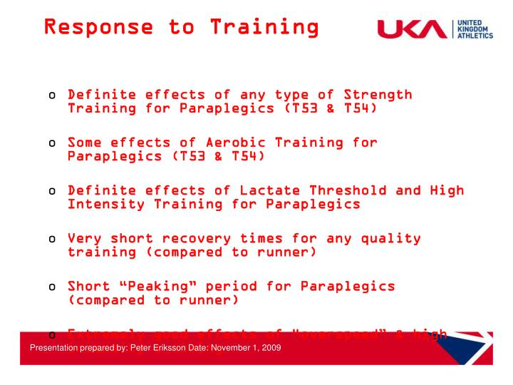 Response to Training