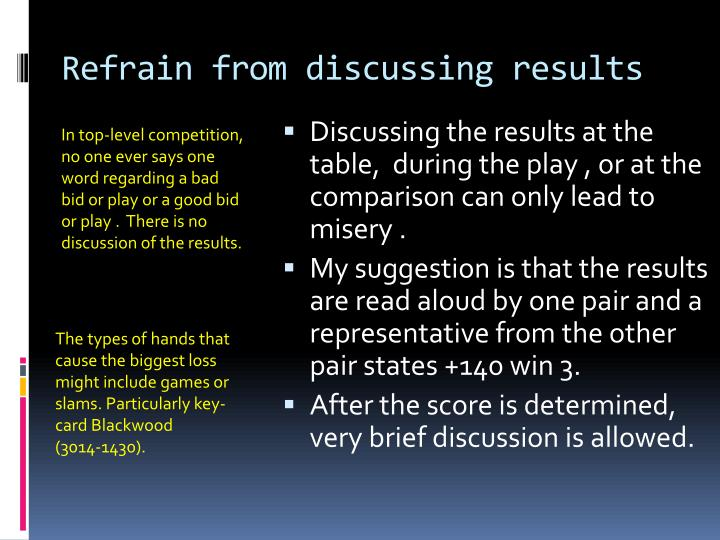 Refrain from discussing results
