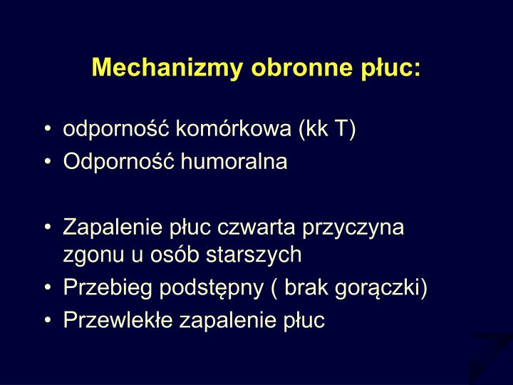 Mechanizmy obronne płuc: