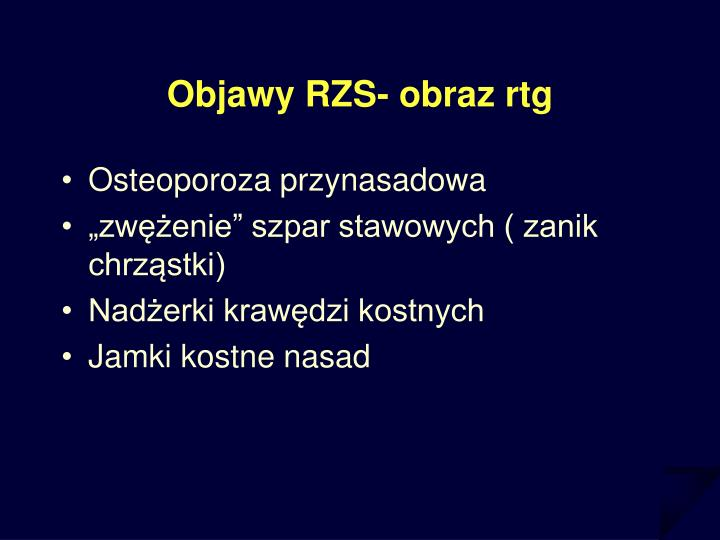 Objawy RZS- obraz rtg