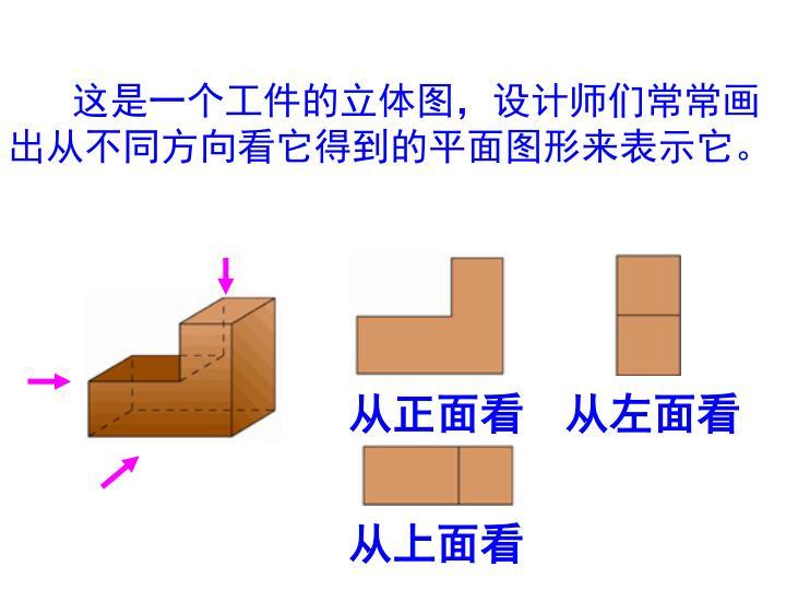这是一个工件的立体图,设计师们常常画出从不同方向看它得到的平面图形来表示它。