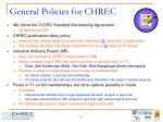 general policies for chrec
