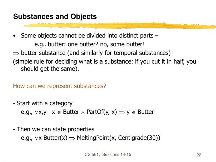 Substances and Objects