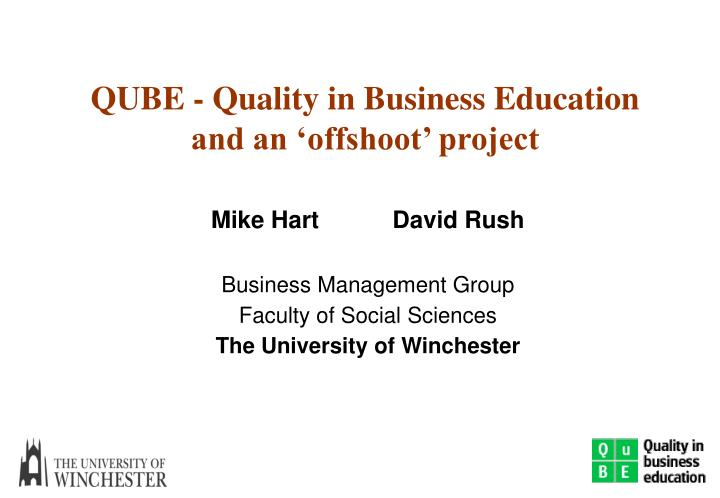 qube quality in business education and an offshoot project n.