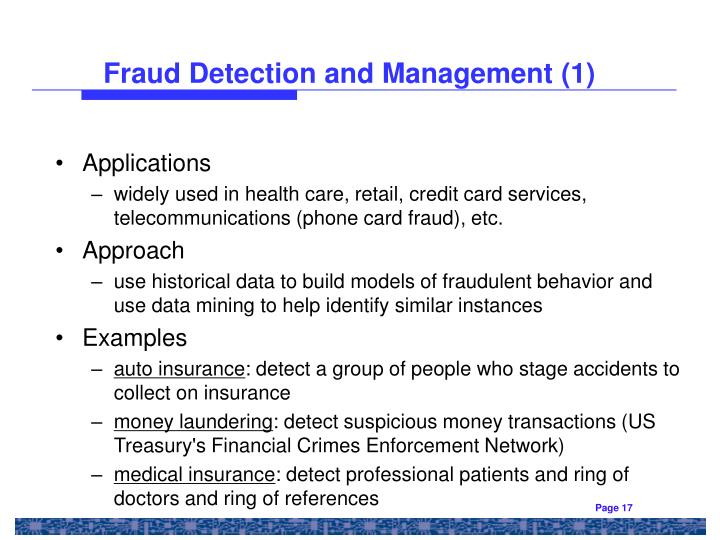 credit card fraud detection through data mining The credit card fraud detection problem includes modeling past credit card transactions with the knowledge of the ones that turned out to be fraud this model is then used to identify whether a new transaction is fraudulent or not our aim here is to detect 100% of the fraudulent transactions while.