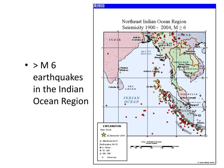 > M 6 earthquakes in the Indian Ocean Region