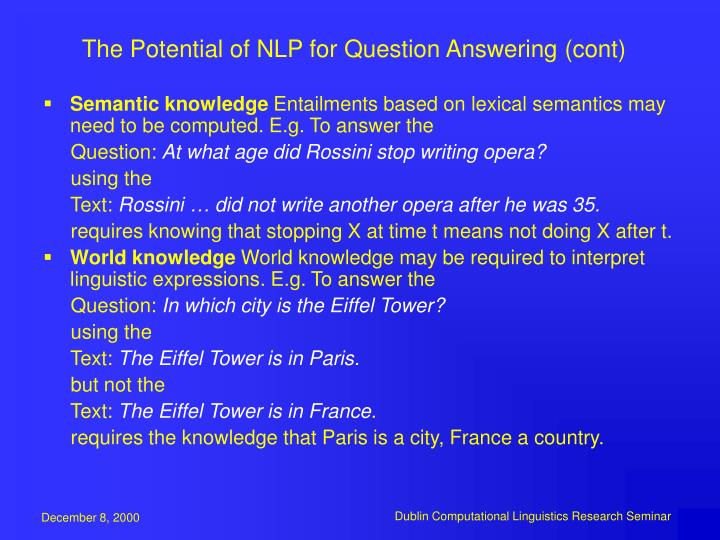 The Potential of NLP for Question Answering