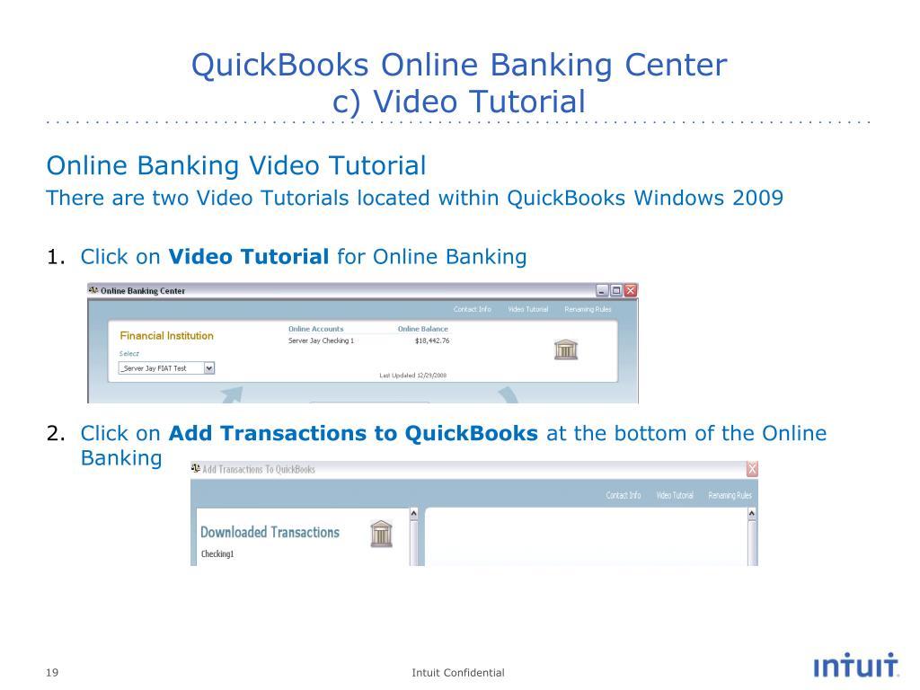 PPT - QuickBooks Online Banking Internal Support Training