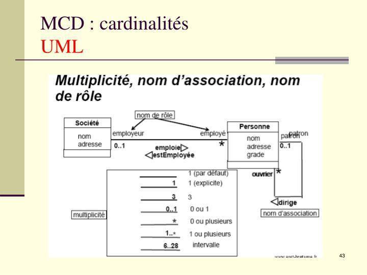 MCD : cardinalités