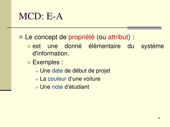 MCD: E-A