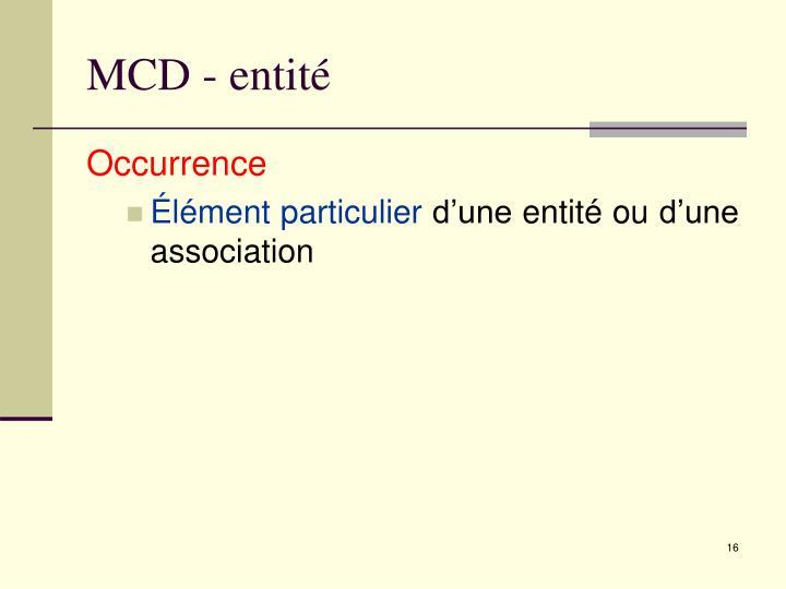 MCD - entité