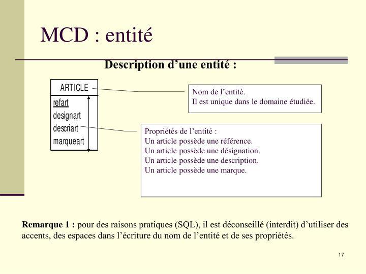 MCD : entité