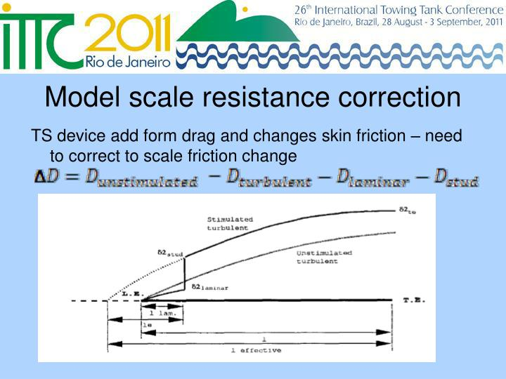 Model scale resistance correction
